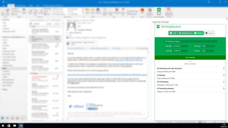 Create meeting in Outlook