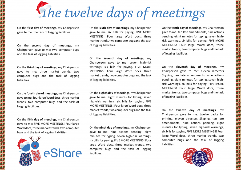 The eShare 12 days of meetings