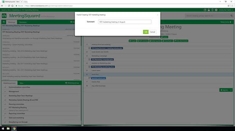 One click to send out to meeting attendees